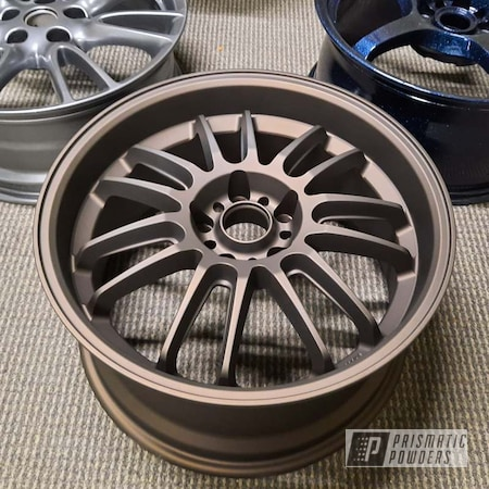 "Powder Coating: Wheels,Automotive,17"" Aluminum Rims,2 Stage Application,Casper Clear PPS-4005,DARK BRONZE II UMB-4965"