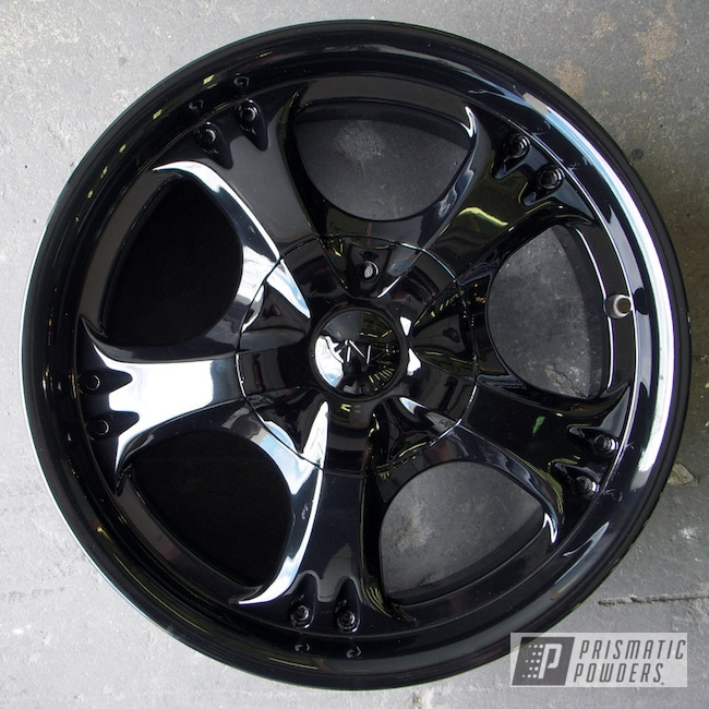 "Powder Coating: Wheels,Automotive,GLOSS BLACK USS-2603,18"" Aluminum Rims,Casper Clear PPS-4005"