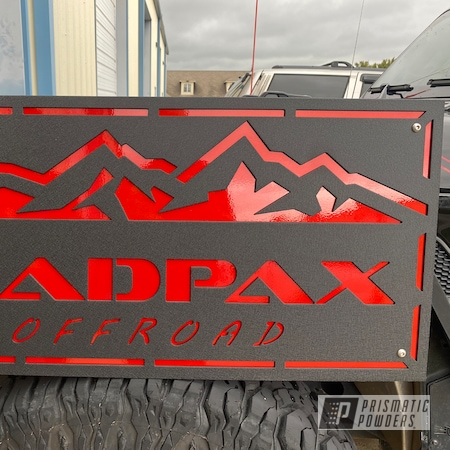 Powder Coating: Splatter Black PWS-4344,Clear Vision PPS-2974,Illusion Red PMS-4515,signage,Layered Colors