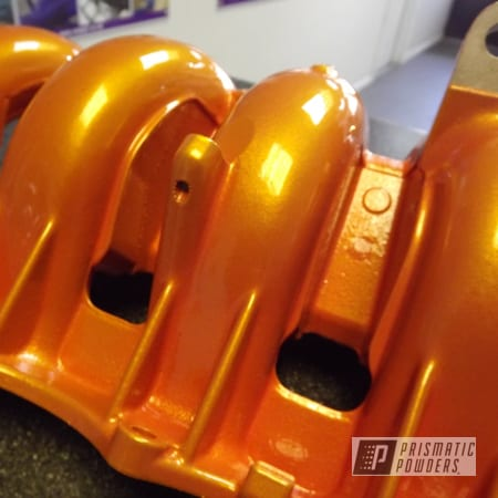 Powder Coating: Automotive,Clear Vision PPS-2974,Illusion Orange PMS-4620,Engine Cover