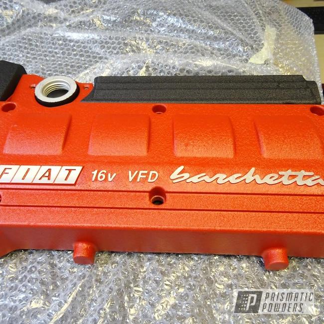 Powder Coating: Fiat,Desert Red Wrinkle PWS-2762,Desert Nite Black PWS-2859,Automotive Parts,Engine Cover