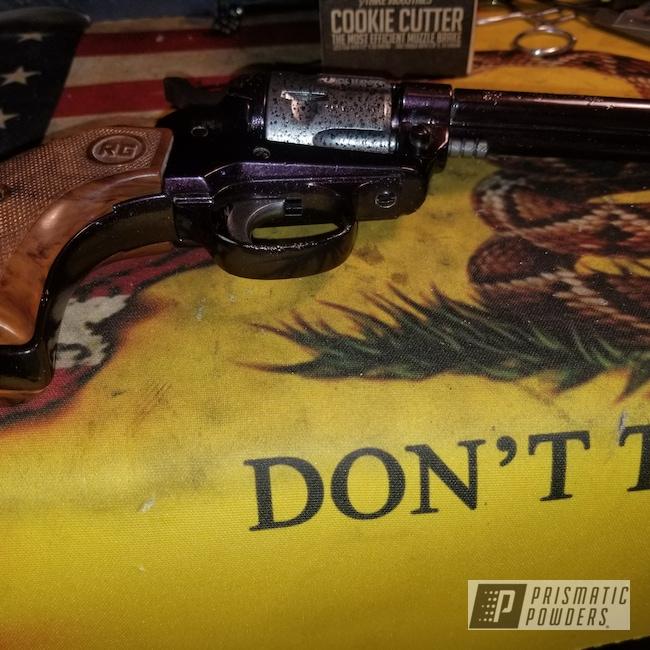 Powder Coating: Revolver,Guns,Misty Burgundy PMB-1042,ARMY,Silver Artery PVS-3014