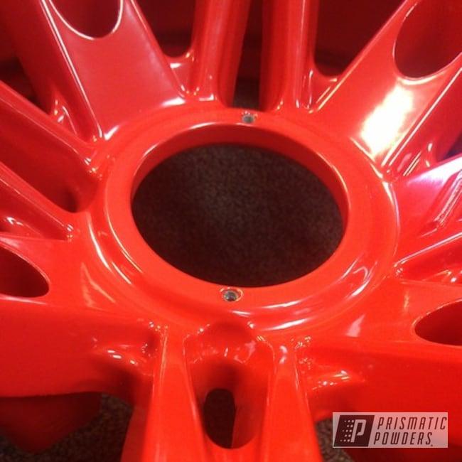 Powder Coating: Wheels,Custom Wheels,Polaris Wheels,powder coating,red wheels,powder coated,Prismatic Powders,RAL 3020 RAL-3020