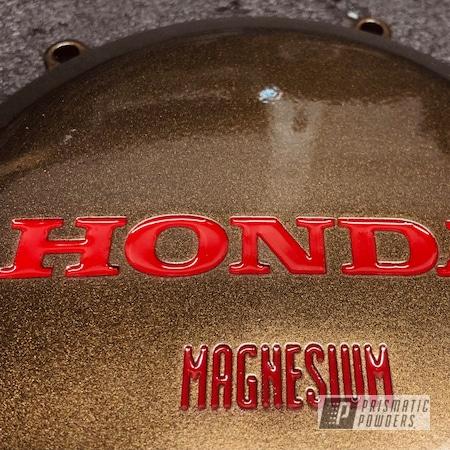 Powder Coating: Automotive,Honda TRX 450R,Firecracker Red PSB-6500,2 Color Application,Bronze Chrome PMB-4124,Honda,Motorcycles,Engine Cover,Crf450sm Black Widow