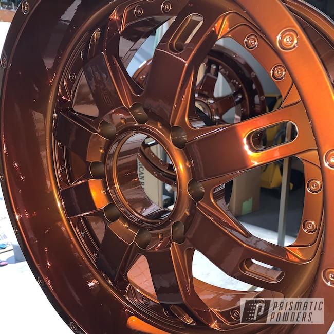 Powder Coating: Wheels,Automotive,Clear Vision PPS-2974,Transparent Copper PPS-5162,2 Color Application,SUPER CHROME II PSS-10300