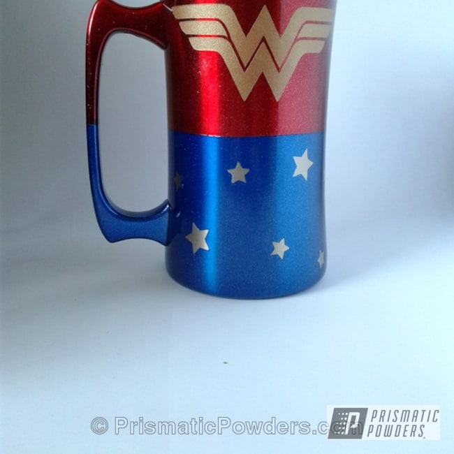 Powder Coating: Booty Blue PPB-2757,Wonder Woman Coffee Mug,Multi Stage Application,CoralBerry Creations,Custom Coffee Mug,Clear Top Coat,STARLIGHT RED UPB-5500,Miscellaneous