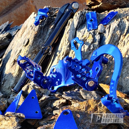 Powder Coating: Automotive,Footrest,Pearl Black PMB-5347,Illusion Blueberry PMB-6908,Motorcycles,Dirtbike,Kickstand,brackets,Yamaha WR X125 ,Clear Vision PPS-2974,Yamaha,Bike Parts,Pedals