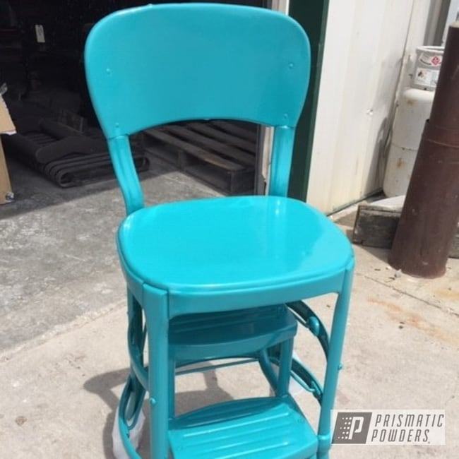 Powder Coating: Vintage Chair,High Chair,chair,Indian Turquoise PSS-2791,Metal Chair