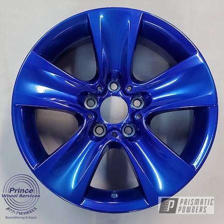 Powder Coating: Wheels,Automotive,Aluminum Rims,BMW,SUPER CHROME II PSS-10300,Aluminum,Automotive Rims,Car Parts,Automotive Wheels,Aluminum Wheels,Alloy Wheels,DUSTED CANDY BLUE UPB-6743,2 Stage Application