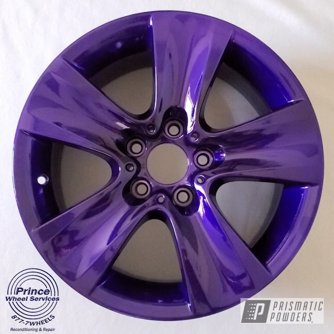 Powder Coating: Automotive,Aluminum Rims,BMW,SUPER CHROME II PSS-10300,Aluminum,Automotive Rims,Automotive Parts,Automotive Wheels,Aluminum Wheels,Alloy Wheels,2 Stage Application,parts,Candy Purple PPS-4442