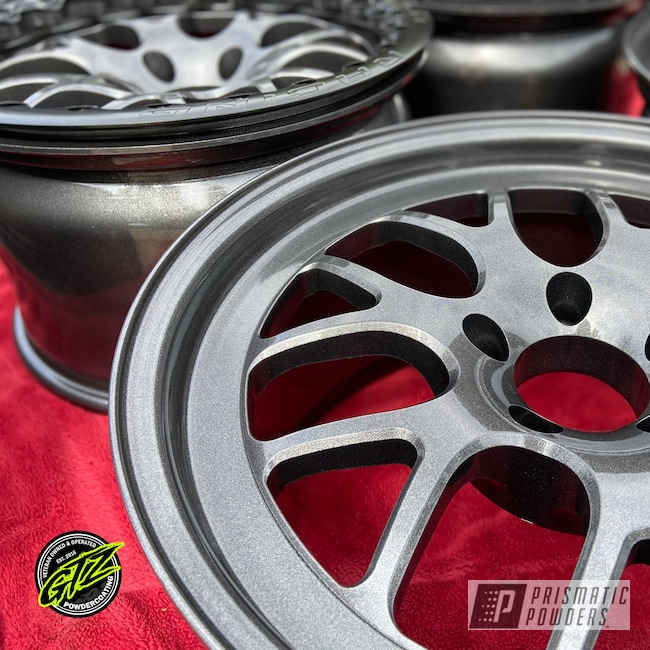"Powder Coating: Wheels,Automotive,Clear Vision PPS-2974,18"",Kingsport Grey PMB-5027,18"" Aluminum Rims"