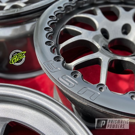 "Powder Coating: Wheels,Automotive,Clear Vision PPS-2974,18"",Kingsport Grey PMB-5027,18"" Aluminum Rims"