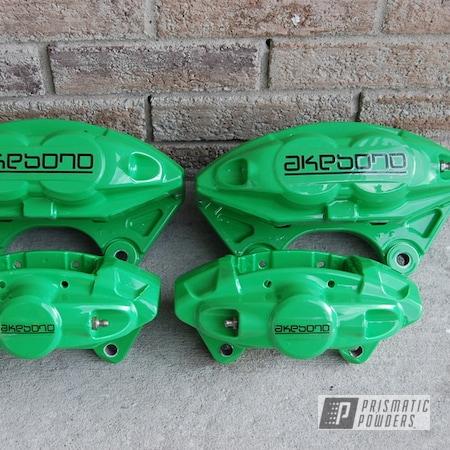 Powder Coating: Automotive,Clear Vision PPS-2974,Akebono Brake Calipers,Brake Calipers,Gloss White PSS-5690,Neon Green PSS-1221,Akebono