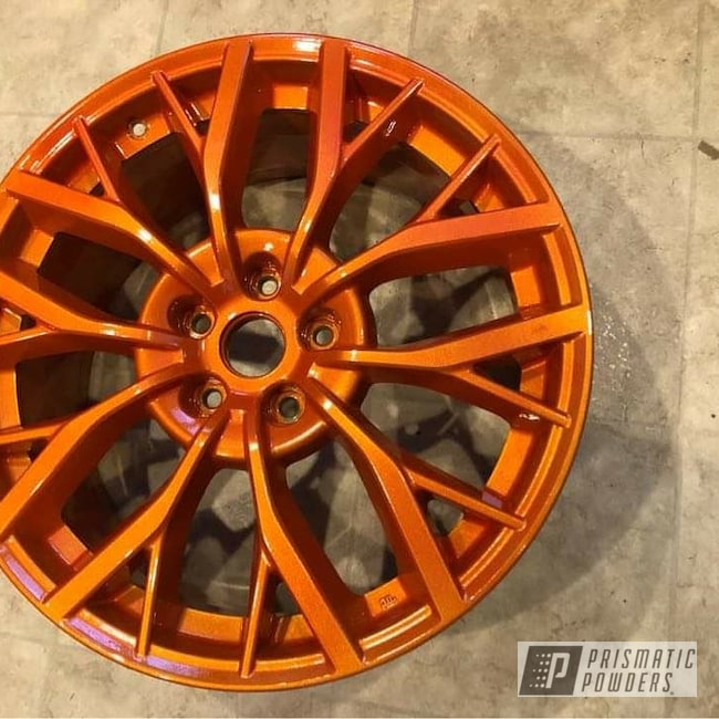 "Powder Coating: Wheels,19"" Wheels,19"",Automotive,Clear Vision PPS-2974,STI,Subaru,Illusion Orange PMS-4620"
