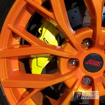 Powder Coated Subaru Sti Wheels In Pms-4620 And Pps-2974