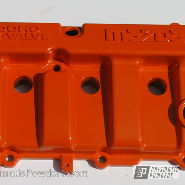 Powder Coating: Orange Soda PMB-1585,Custom,Automotive,powder coating,powder coated,Prismatic Powders,Valve Cover