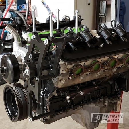 Powder Coating: Automotive,Valve Covers,Timing Cover,#LS,LS,Engine Parts,Silk Satin Black HSS-1336,brackets