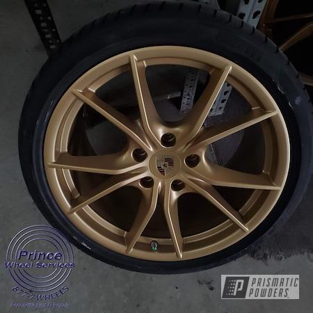 Powder Coating: Wheels,Automotive,Alloy Wheels,Custom Wheels,Aluminum Rims,Porsche,Aluminum,Satin Poly Gold PMB-6487,Automotive Rims,Automotive Parts,Aluminum Wheels