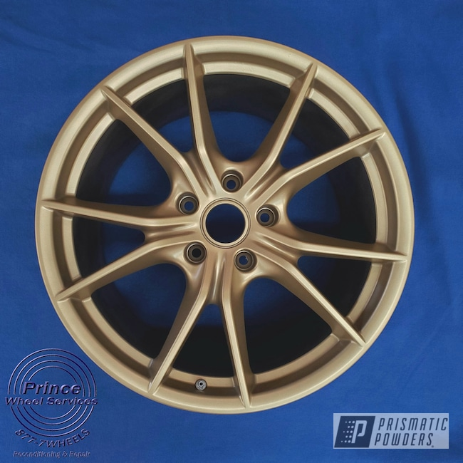 Powder Coating: Wheels,Automotive,Alloy Wheels,Custom Wheels,Aluminum Rims,Porsche,Aluminum,Satin Poly Gold PMB-6487,Automotive Rims,Automotive Parts,Aluminum Wheels