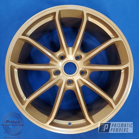 Powder Coating: Wheels,Automotive,Aluminum Rims,Aluminum,Automotive Rims,Car Parts,Automotive Parts,Automotive Wheels,Aluminum Wheels,Alloy Wheels,Rims,Poly Gold PMB-4211,Porsche