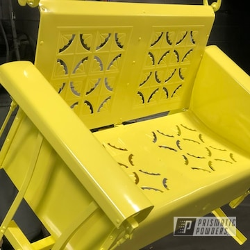 Powder Coated Metal Patio Glider In Sulfur Yellow
