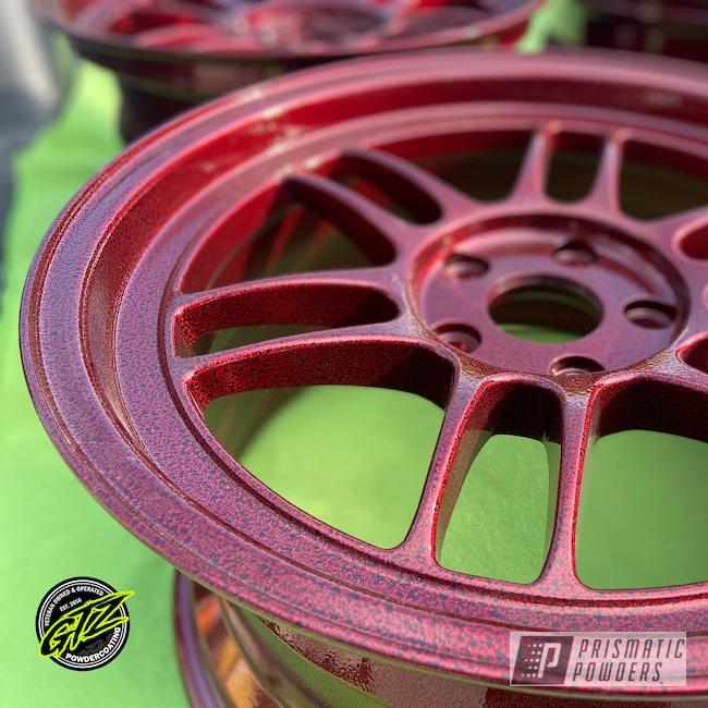 """Powder Coating: Wheels,Automotive,18"""",LOLLYPOP RED UPS-1506,Black Frost PVS-3083,18"""" Aluminum Rims"""