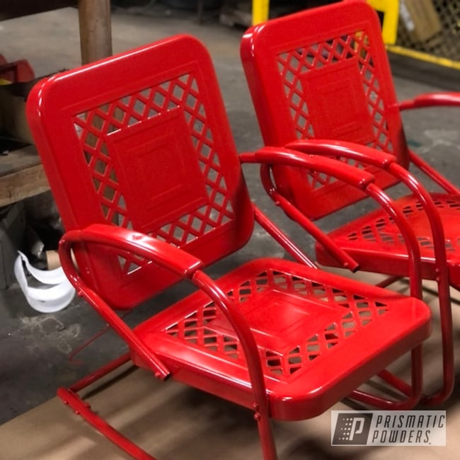 Powder Coated Steel Patio Furniture In Flame Red