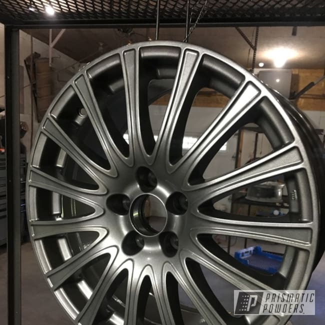 Powder Coating: Wheels,Automotive,Clear Vision PPS-2974,2 Stage Application,Kingsport Grey PMB-5027