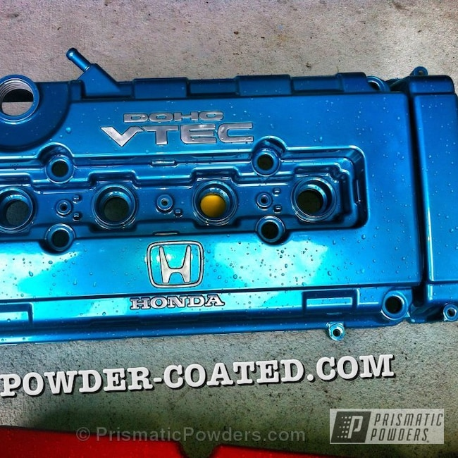 Powder Coating: Automotive,SUPER CHROME USS-4482,chrome,D,HD TEAL UPB-1848,H,Valve Cover,Teal B16 Valve Cover