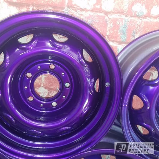"Powder Coating: Illusion Purple PSB-4629,Wheels,Automotive,Clear Vision PPS-2974,Steel Wheels,Rally Wheels,Automotive Rims,Illusions,Automotive Wheels,15"" Steel Rims"