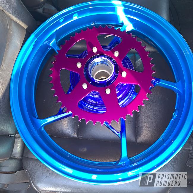 "Powder Coating: Wheels,Ninja,Automotive,Kawasaki,17"" Aluminum Rims,LOLLYPOP BLUE UPS-2502,Hawaii Blue PPS-4483,Motorcycles,Custom 2 Coats,Alien Silver PMS-2569,Illusion Violet PSS-4514"