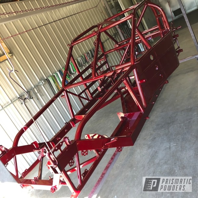 Powder Coating: Race Chassis,Automotive,Clear Vision PPS-2974,Powder Coated Frame,Race Car Frame,chassis,Illusion Cherry PMB-6905