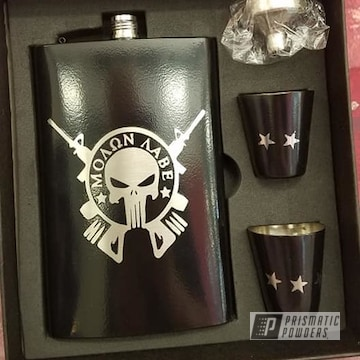 Powder Coated Custom Punisher Themed Flask Set In Uss-2603