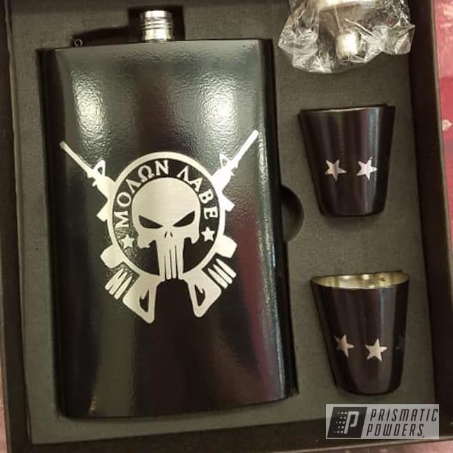 Powder Coating: Drinkware,HOGG,GLOSS BLACK USS-2603,Flask Set,Stainless Steel Drinkware,Punisher
