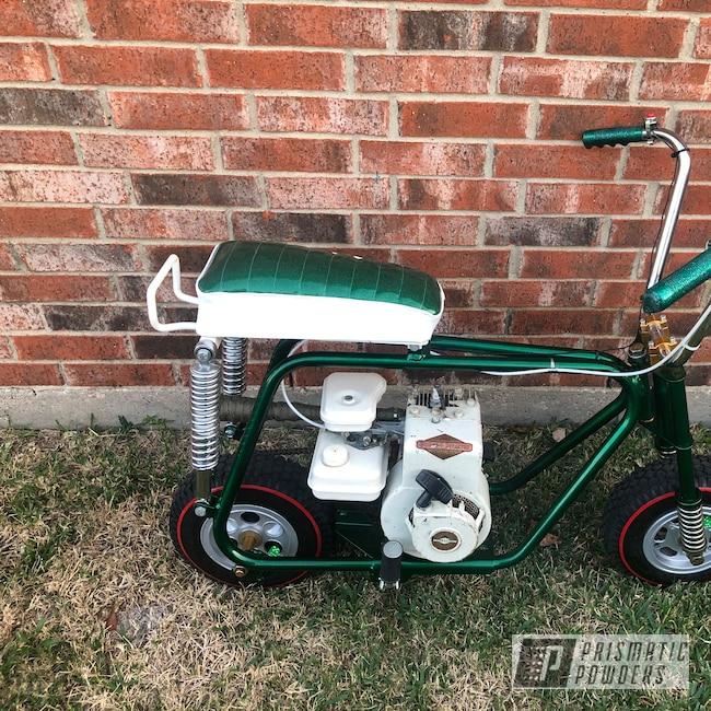 Powder Coating: Mini Bike,BIGGS SILVER UPB-6018,Frame,Ultra Illusion Green PMB-5346