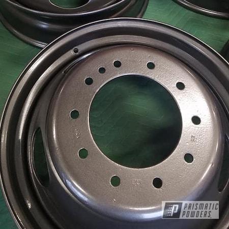 Powder Coating: Wheels,Dually,Automotive,Steel Wheels,Kingsport Grey PMB-5027,Automotive Rims,Dually Truck Rims,Steel Rims
