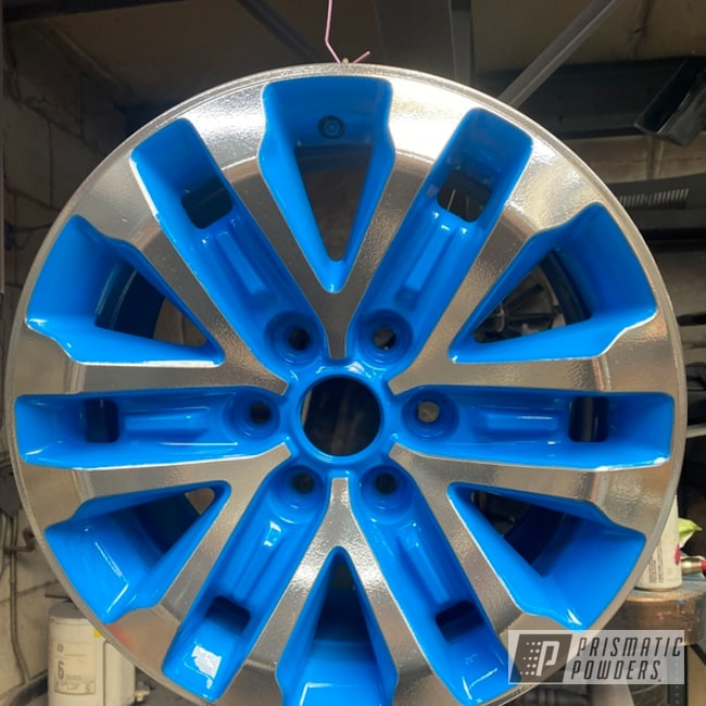 """Powder Coating: Automotive,Clear Vision PPS-2974,2 Color Application,17"""" Aluminum Rims,SUPER CHROME II PSS-10300,Playboy Blue PSS-1715,Ford Raptor,Two Tone,Ford"""