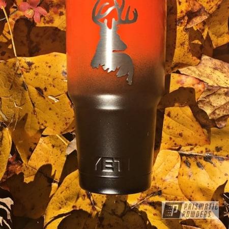 Powder Coating: Hunting,Tumbler,Tangelo/Lite PMB-2282,Blaze Orange,YETI,Stainless Tumbler,Deer,Silk Satin Black HSS-1336