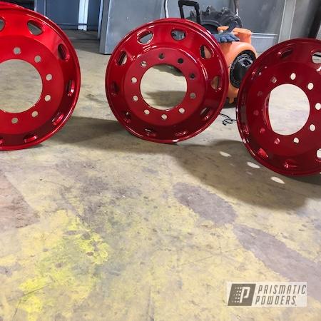 Powder Coating: Automotive,Valve Covers,Wheel Hub,Aluminum,Alien Silver PMS-2569,Deep Red PPS-4491
