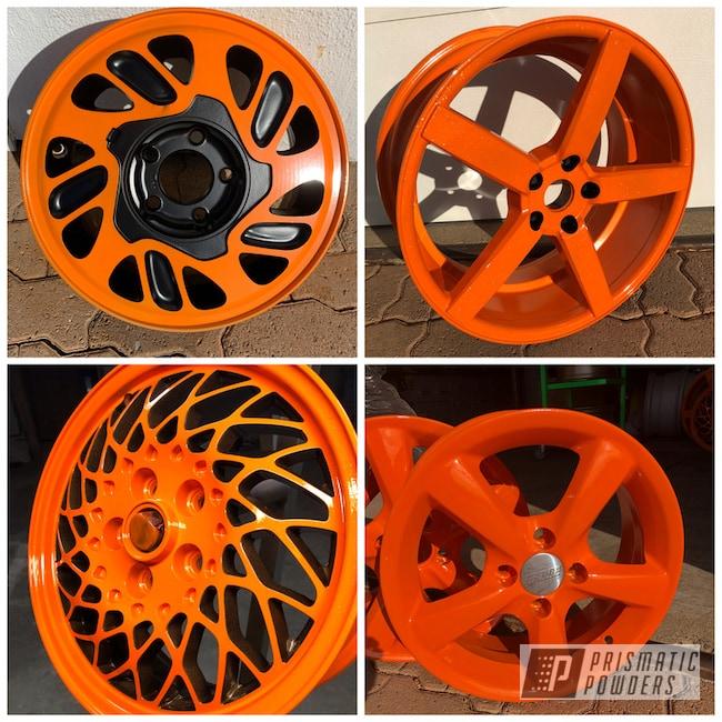 Powder Coating: Wheels,Matte Black PSS-4455,Automotive,Rims,Aluminum Rims,Chevy Orange PSS-0163,Bright Orange PSS-0879