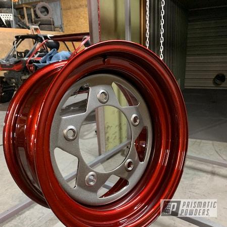 Powder Coating: Wheels,Automotive,LOLLYPOP RED UPS-1506,Kingsport Grey PMB-5027