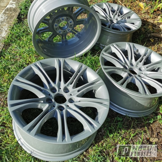 "Powder Coating: Wheels,BMW Silver PMB-6525,Automotive,Alloy Wheels,Clear Vision PPS-2974,Rims,BMW,18"" Aluminum Rims"