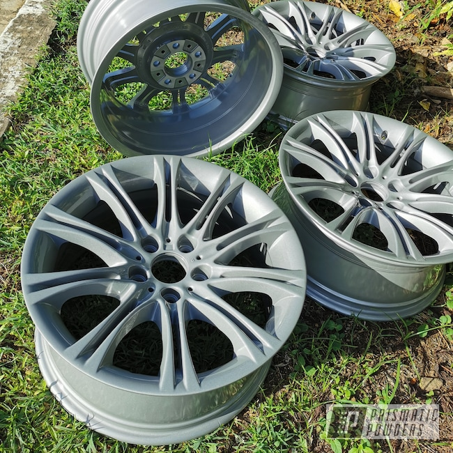 "Powder Coating: Wheels,BMW Silver PMB-6525,Automotive,Alloy Wheels,Clear Vision PPS-2974,Rims,BMW,18"" Aluminum Rims"