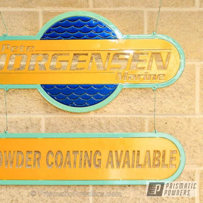 Powder Coating: Custom,Sea Foam Green PSS-4063,teal,blue,powder coating,powder coated,Prismatic Powders,Hawaii Blue PPS-4483,Sign,yellow,Miscellaneous