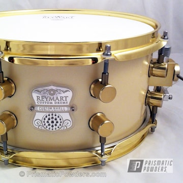 Reymart Custom Snare Drum Coated In Transparent Brass Powder Coat