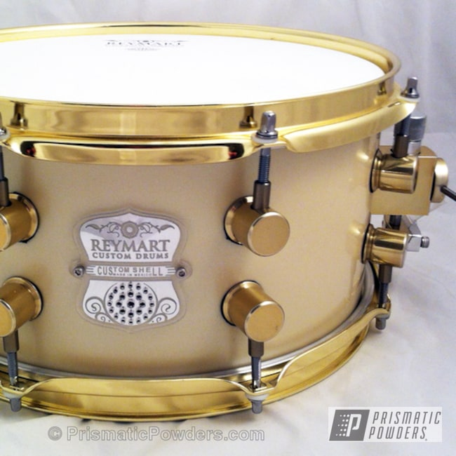 Reymart Custom Snare Drum Coated In Transparent Brass Powder Coat