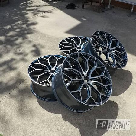 "Powder Coating: Wheels,Alloy Wheels,POLISHED ALUMINUM HSS-2345,2 Tone,Rims,22"",Dark Blue Metallic PMB-5701,Ford,Taurus"