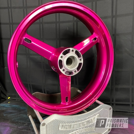 Powder Coating: Clear Vision PPS-2974,Custom Motorcycle Wheels,Street Bike,Illusion Pink PMB-10046,Suzuki Hyabusa,Suzuki Motorcycle Wheels