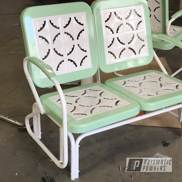 Powder Coated Two Tone Patio Chairs In Ral 9000 And Ral 6021