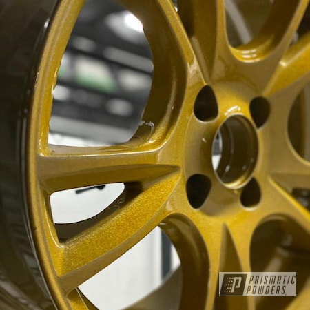 Powder Coating: Wheels,Rims,Aluminum Rims,2 Stage Application,Brassy Gold PPS-6530,Alien Silver PMS-2569,Aluminum Wheels,Layered Colors